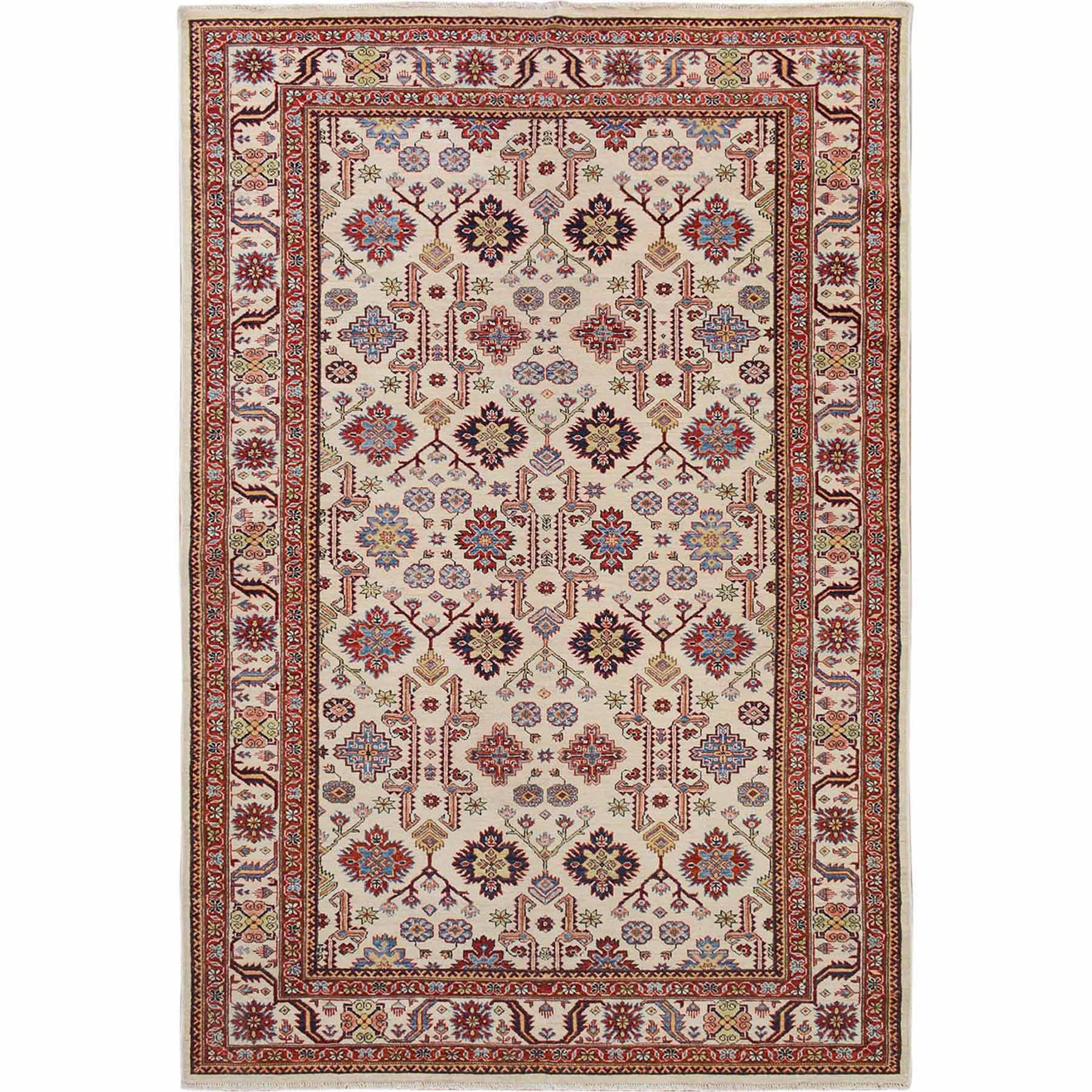 Ivory Super Kazak Pure Wool Tribal Design Hand Knotted Oriental