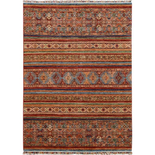 Colorful Khorjin Design Super Kazak Pure Wool Hand Knotted Oriental