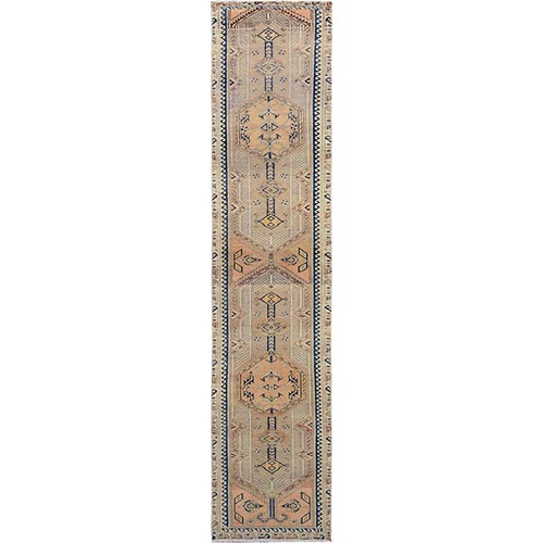 Camel Hair Vintage Persian Serab Worn Down Runner Hand Knotted Oriental