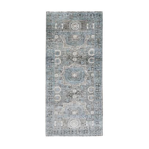 Silk With Textured Wool Hi-Low Pile Mamluk Design Runner Hand Knotted Oriental Rug