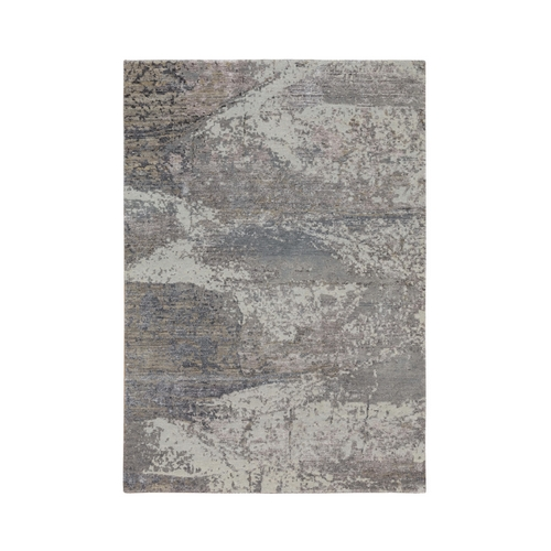 Gray Abstract Design Wool And Silk Hand Knotted Oriental Rug
