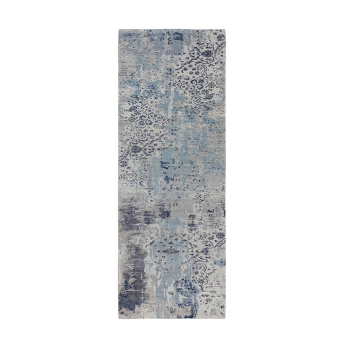 Blue Erased Design Wool And Silk Hand Knotted Runner Oriental Rug
