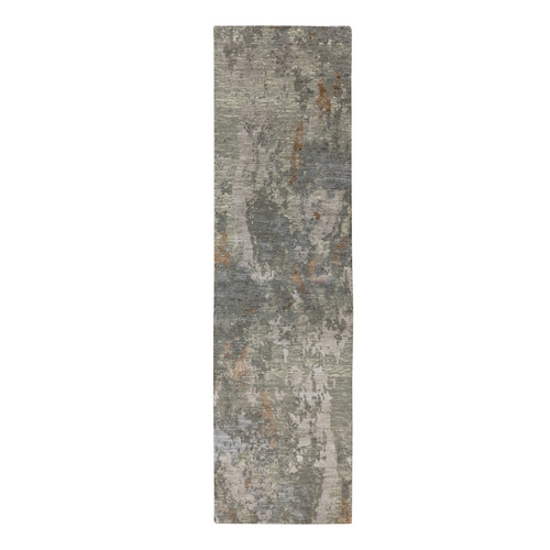 Earth Tone Colors Abstract Design Wool And Silk Runner Hand Knotted Oriental Rug