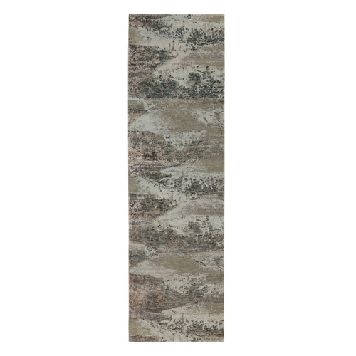 Natural Colors Abstract Design Wool And Silk Runner Hand Knotted Oriental Rug