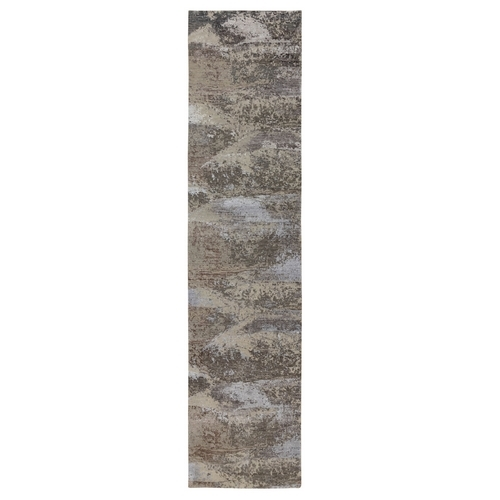 Natural Abstract Design Wool And Silk Runner Hand Knotted Oriental Rug