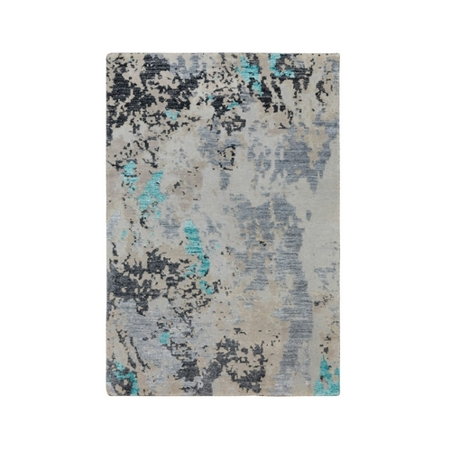 Turquoise Abstract Design Wool And Silk Hand Knotted Oriental Rug