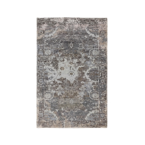 Gray Erased Design Wool And Silk Hand Knotted Oriental Modern Rug