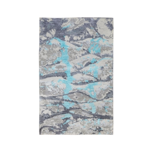 Aquamarine Modern Design Wool And Silk Hand Knotted Oriental Rug