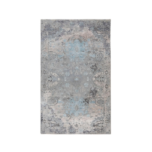 Gray Erased Design Wool And Silk Hand Knotted Oriental Rug