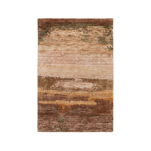 Earth Tone Colors Abstract Design Wool And Silk Hand Knotted Modern Oriental Rug