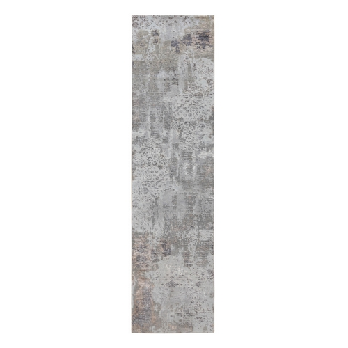 Gray Abstract Design Wool And Silk Runner Hand Knotted Oriental Rug