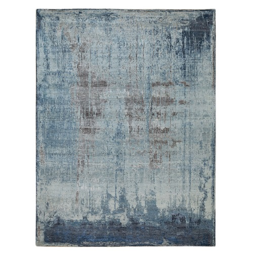 Blue Abstract Wool And Silk Hand Knotted Oriental Rug