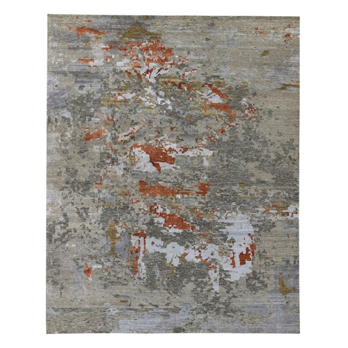 Terracotta Oversized Abstract Design Wool And Silk Hand Knotted Oriental Rug