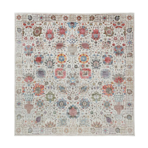 Ivory Silk With Textured Wool Tabriz Hand Knotted Square Oriental Rug