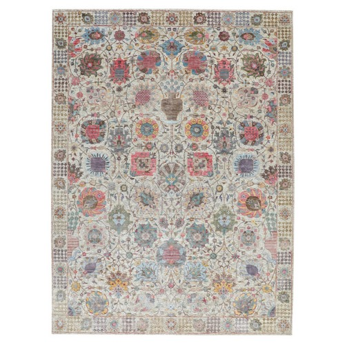 Colorful Silk With Textured Wool Tabriz Hand Knotted Oriental Rug