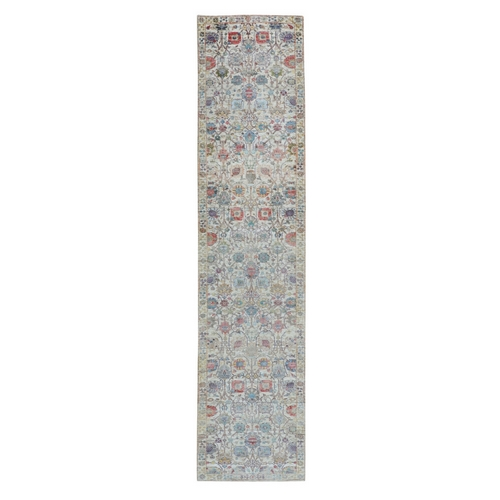 Colorful Silk With Textured Wool Tabriz Runner Hand Knotted Oriental Rug