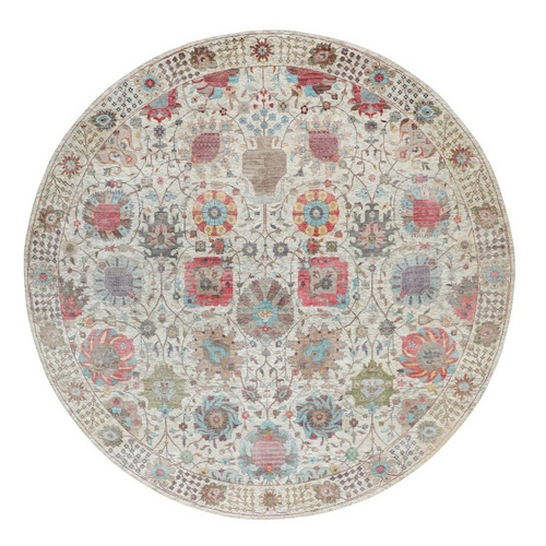 Round Colorful Silk With Textured Wool Tabriz Hand Knotted Oriental Rug