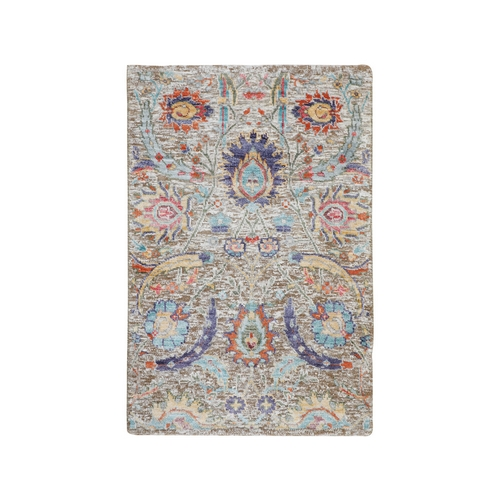 Sickle Leaf Design Silk With Textured Wool Hand Knotted Oriental Rug