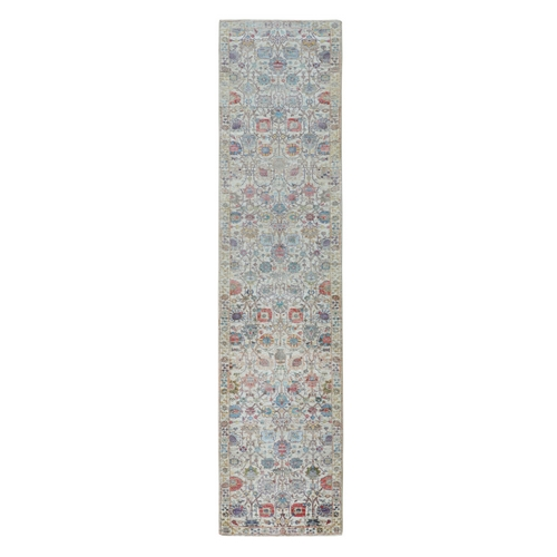 Colorful Silk With Textured Wool Tabriz Design Runner Hand Knotted Oriental Rug