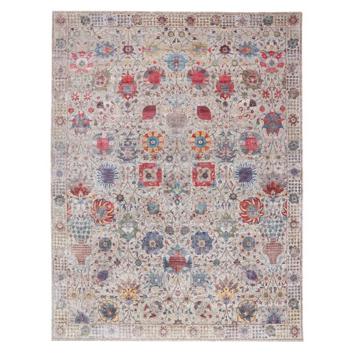 Oversized Colorful Silk With Textured Wool Tabriz Design Hand Knotted Oriental Rug