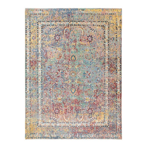 Multicolor Pure Silk With Textured Wool Erased Persian Design Hand Knotted Oriental