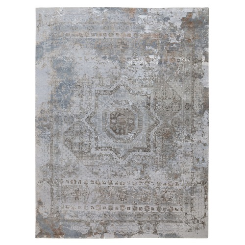 Gray Mamluk Erased Design Wool And Silk Hand Knotted Oriental Rug