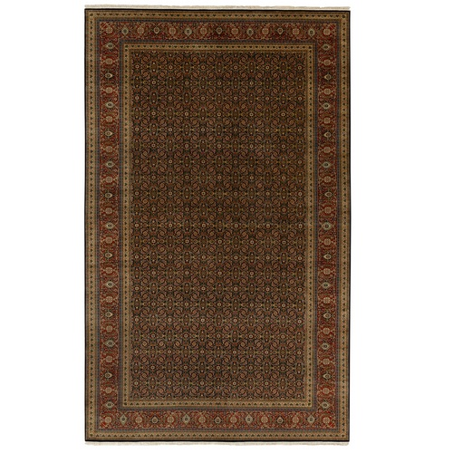 Herati Fish Design Gallery Size Long and Narrow 250 KPSI Hand Knotted Dense Weave Wool and Silk Oriental Rug