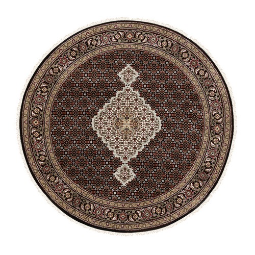Black Hand Knotted Fish Design Tabriz Mahi Wool And Silk Round Oriental