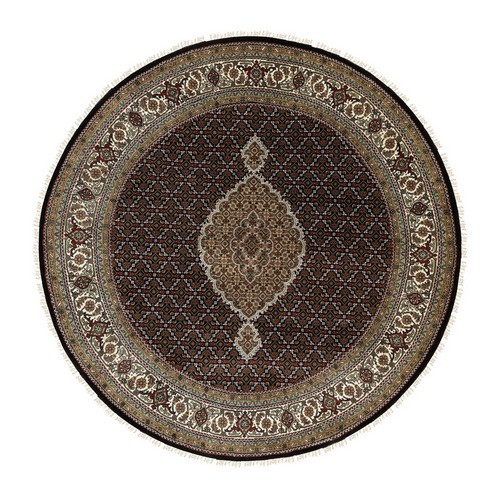 Hand Knotted Wool And Silk Black Fish Design Tabriz Mahi Oriental Round