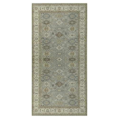 Gray Karajeh Design Pure Wool Hand Knotted Oriental Gallery Size