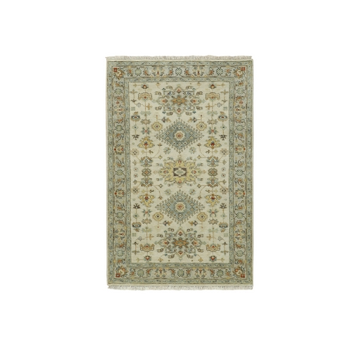 Pure Wool Ivory Karajeh Design With Motifs Hand Knotted Oriental