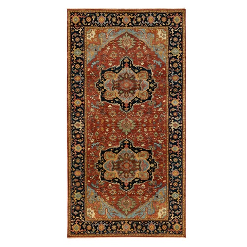 Red Antiqued Heriz Re-Creation Geometric Design Natural Wool Hand Knotted Oriental Wide Runner