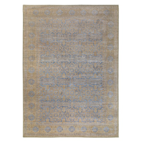 Mamluk Antiqued Gold Design Silk With Textured Wool Hand Knotted Oriental