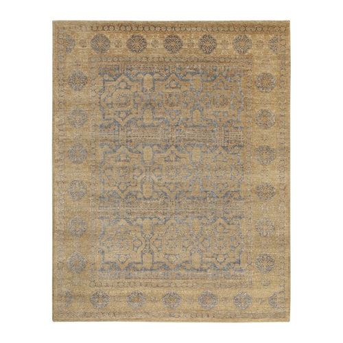 Hand Knotted Mamluk Antiqued Gold Design Silk With Textured Wool Oriental
