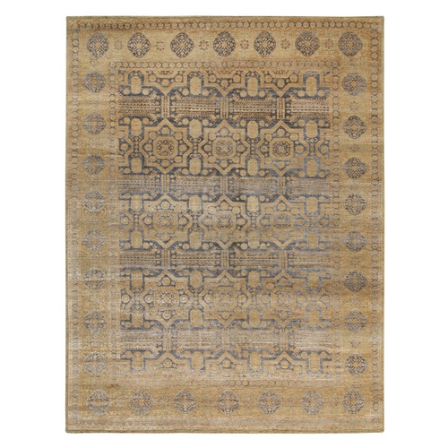 Mamluk Antiqued Gold Design Hand Knotted Silk With Textured Wool Oriental
