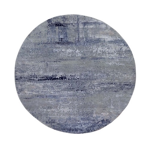 Silver Blue Wool & Silk Modern Abstract Design Hand Knotted Oriental Round