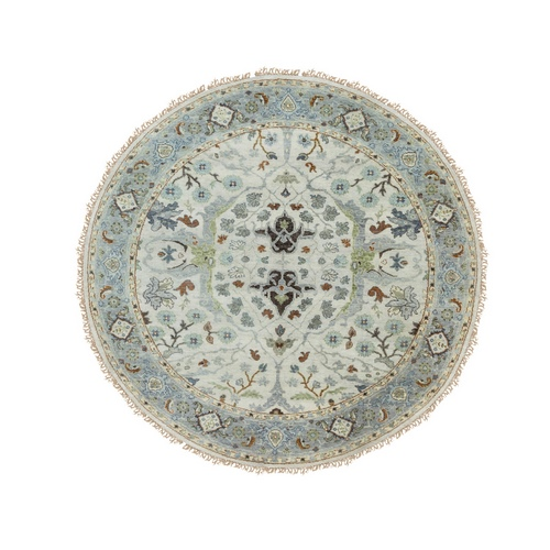 Gray Denser Weave Oushak Large Motifs Hand Knotted Pure Wool Oriental Round