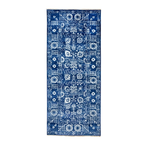 Blue Tone On Tone Tabriz Wool and Silk Hand Knotted Wide Runner Oriental Rug
