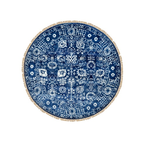 Blue Wool and Silk Tone On Tone Tabriz Hand Knotted Round Oriental Rug