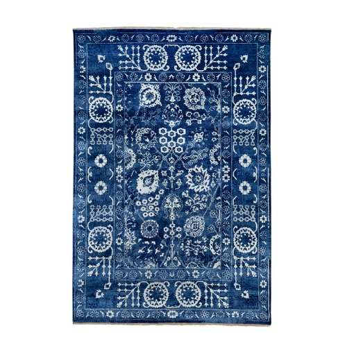 Blue Hand Knotted Tone On Tone Tabriz Wool and Silk Oriental Rug