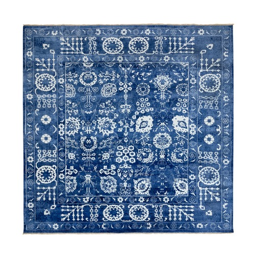 Blue Tone On Tone Tabriz Wool and Silk Hand Knotted Square Oriental Rug
