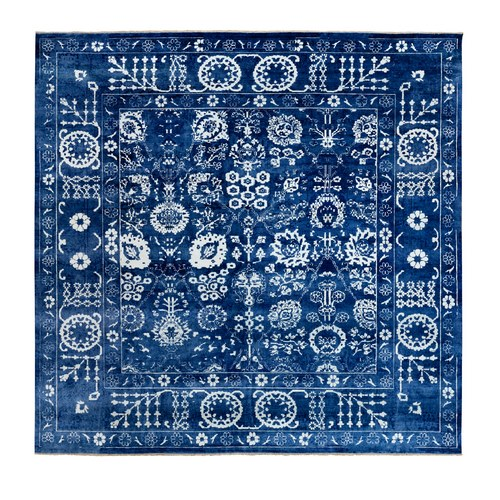Blue Tone On Tone Tabriz Wool and Silk Square Hand Knotted Oriental Rug