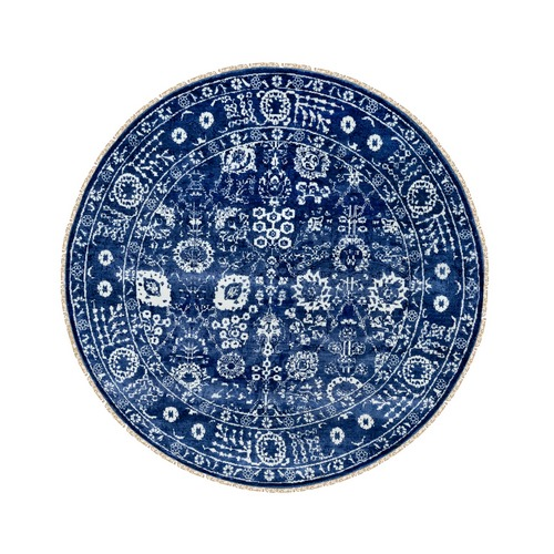 Blue Tone On Tone Tabriz Wool and Silk Round Hand Knotted Oriental Rug