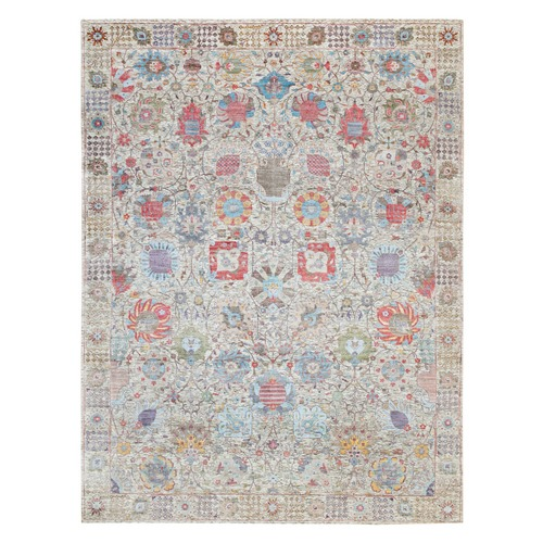 Ivory Hand Knotted Silk With Textured Wool Tabriz Oriental Rug