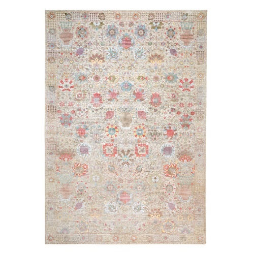 Ivory Silk With Textured Wool Tabriz Hand Knotted Oriental Oversize Rug