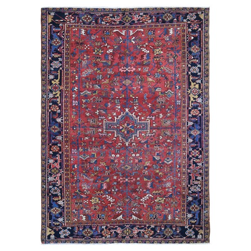 Red Antique Persian Heriz Even Wear Clean Pure Wool Hand Knotted Oriental
