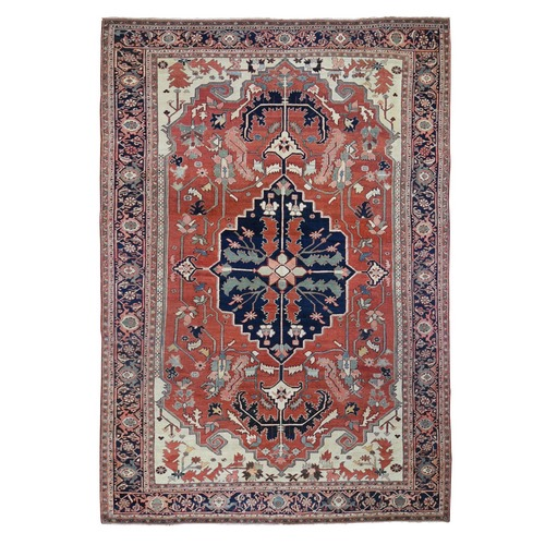 Red Antique Persian Serapi , Clean, Even Wear, Hand Knotted Oriental