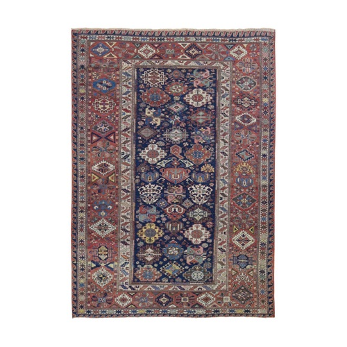 Blue Antique Caucasian Soumak, Good Condition, Pure Wool Hand Knotted Oriental Rug