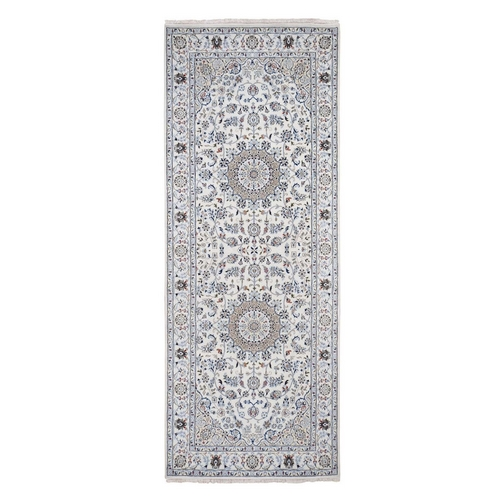 Wool And Silk 250 KPSI Ivory Nain Runner Hand-Knotted Oriental Rug