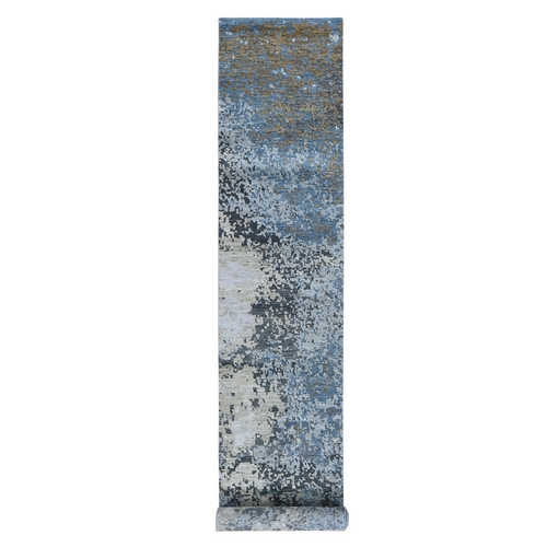 Blue Abstract Design Wool And Silk Hi-Low Pile Denser Weave XL Runner Hand Knotted Oriental